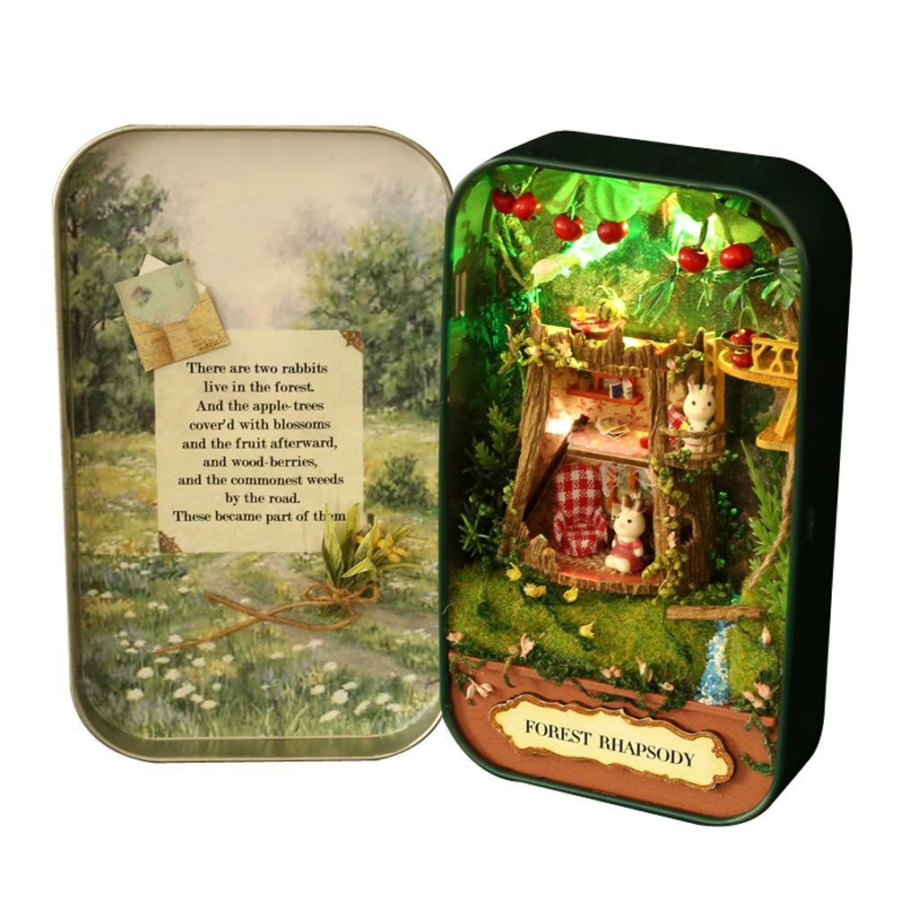 2x DIY 3D Box Theatre Dollhouse Miniature Puzzle Kit w// Dust Cover Toy Gift