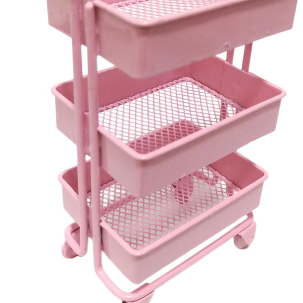 thumbnail 4 - 1:12 Scale 3 Tier Storage Shelf w/ 4 Wheels Dollhouse Furniture Kitchen Room