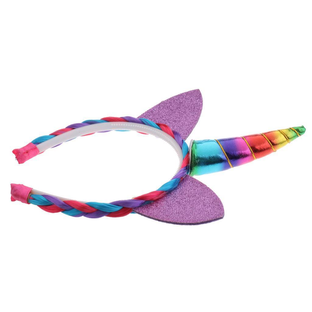 Girls-Pony-Unicorn-Horn-Ear-Flower-Veil-Headband-Fancy-Dress-Cosplay-Hairband thumbnail 8
