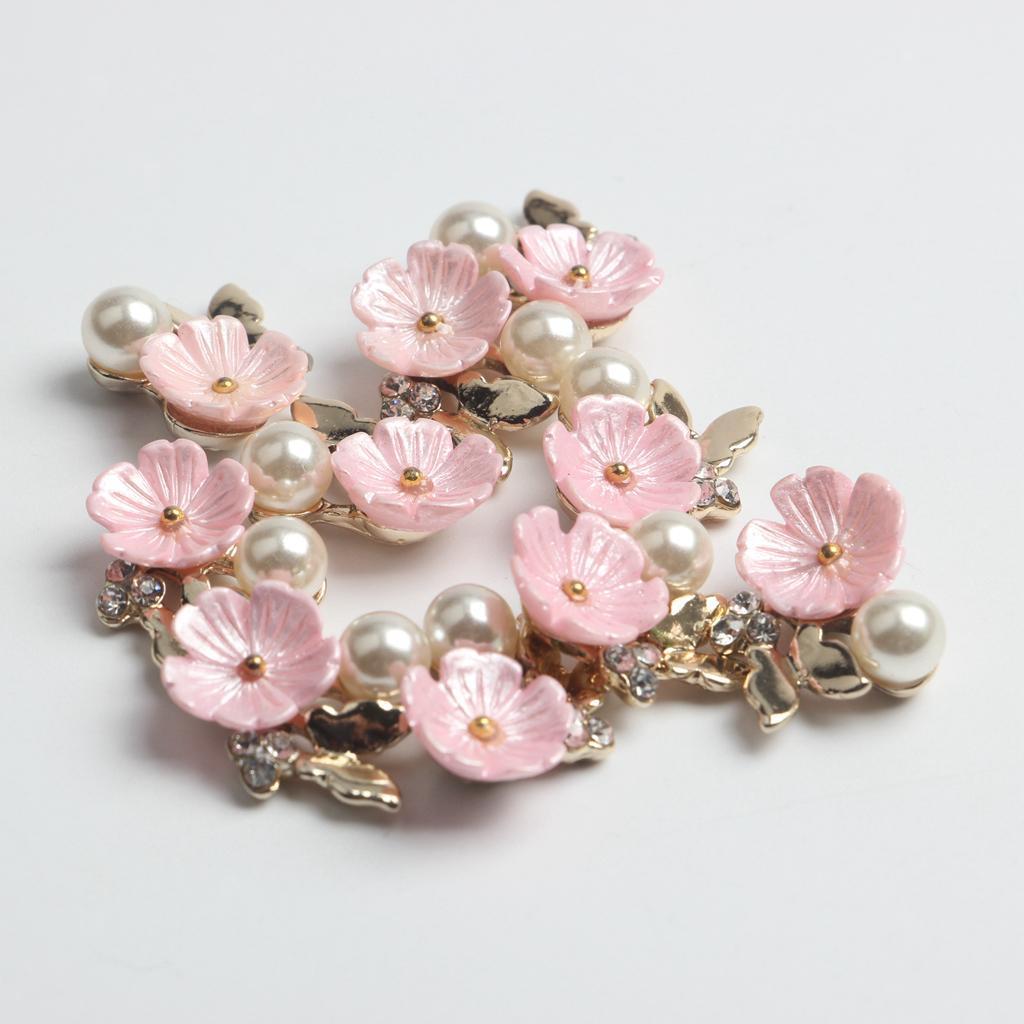 10-Stuecke-Flatback-Perle-Blume-Kristall-Strass-Knoepfe-Verzierung-Faltback Indexbild 7