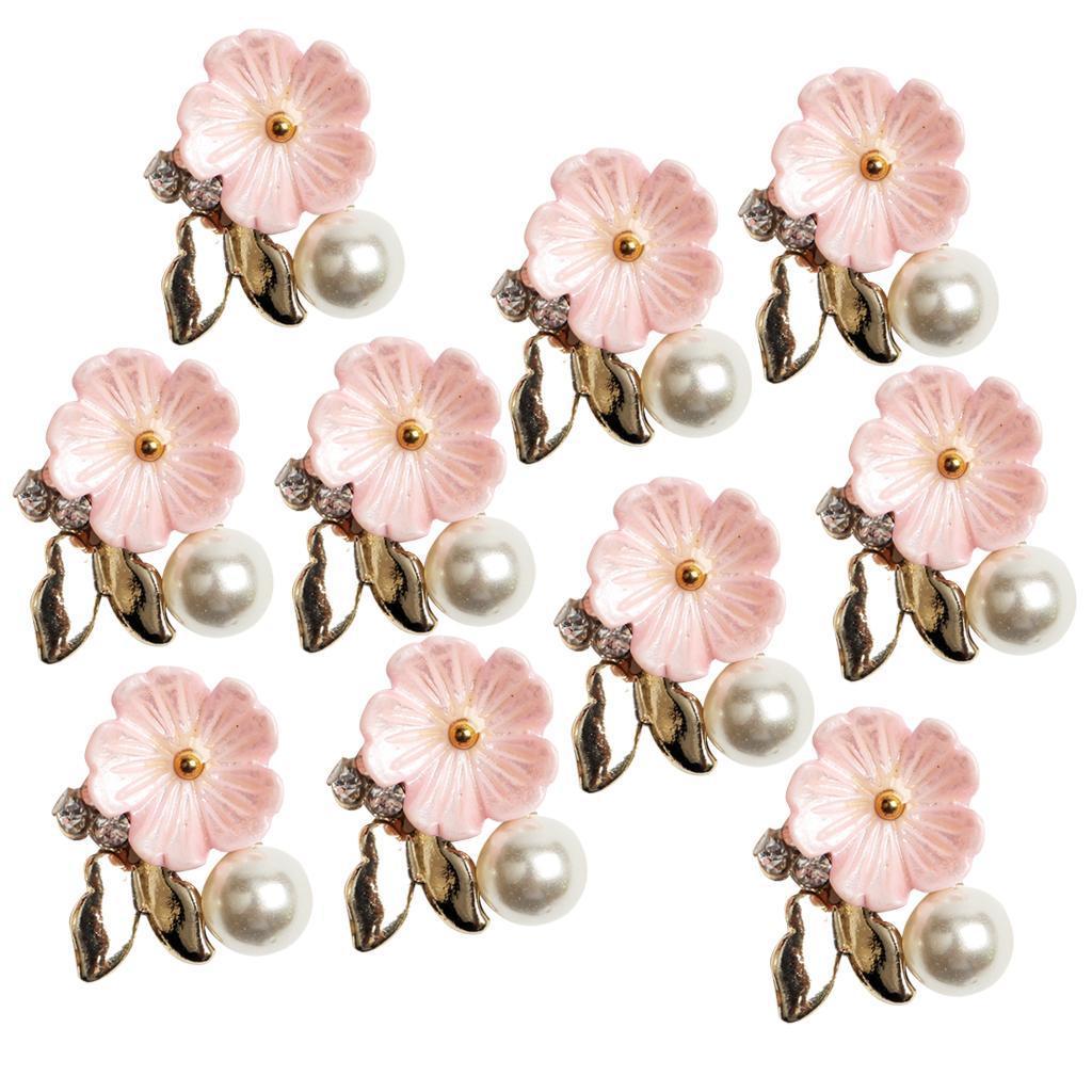 10-Stuecke-Flatback-Perle-Blume-Kristall-Strass-Knoepfe-Verzierung-Faltback Indexbild 6