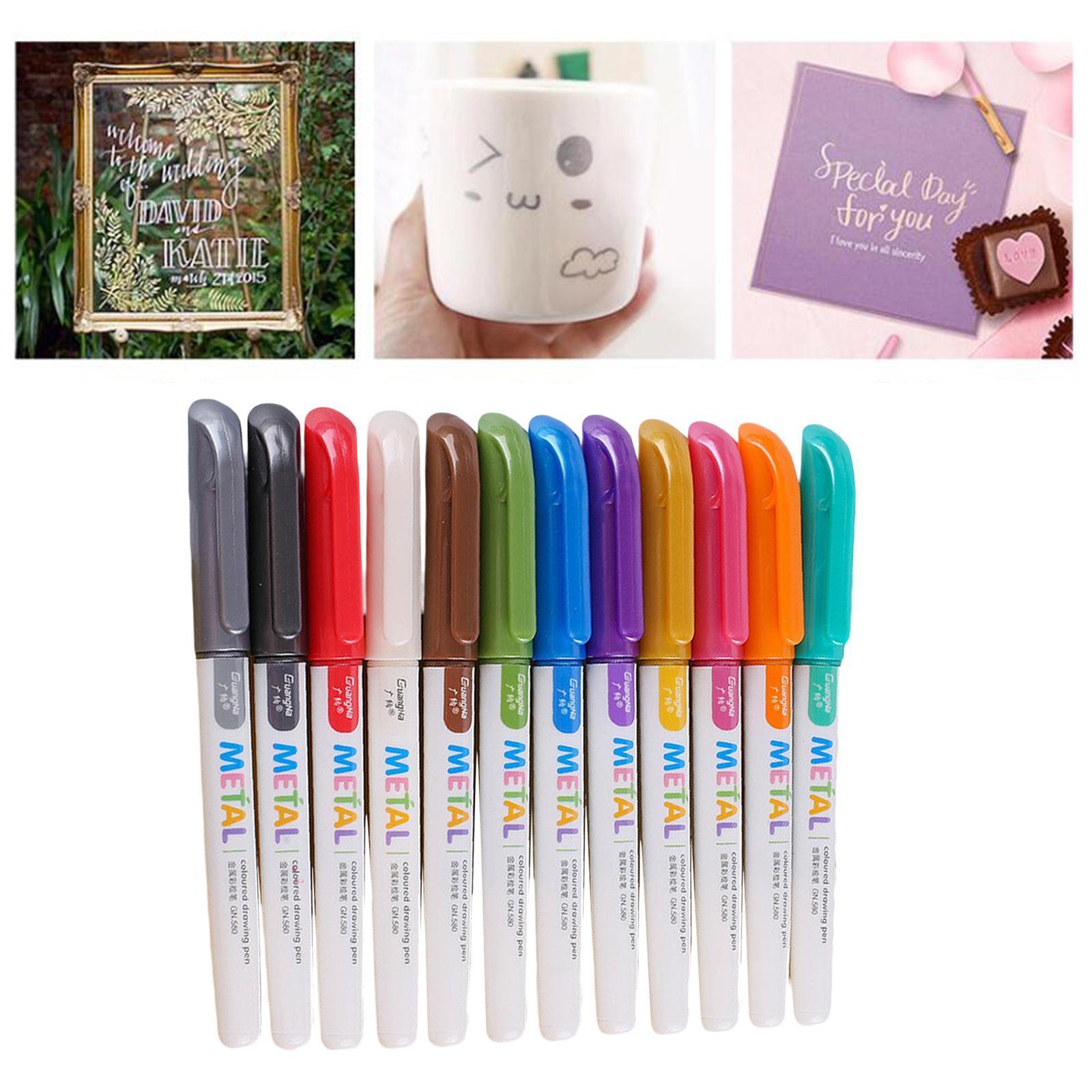 miniatura 17 - 8-12-20x-Permanente-Metallic-Marcatori-Vernici-Penne-per-Adulti-Colouring