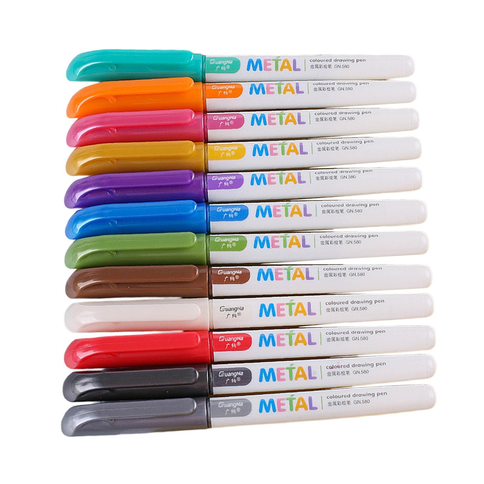 miniatura 14 - 8-12-20x-Permanente-Metallic-Marcatori-Vernici-Penne-per-Adulti-Colouring