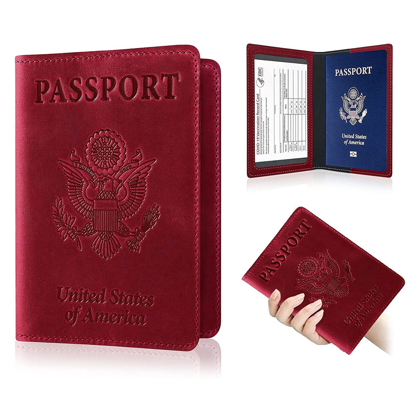 Porte-passeport en cuir PU Portefeuille Porte-cartes Organisateur de voyage