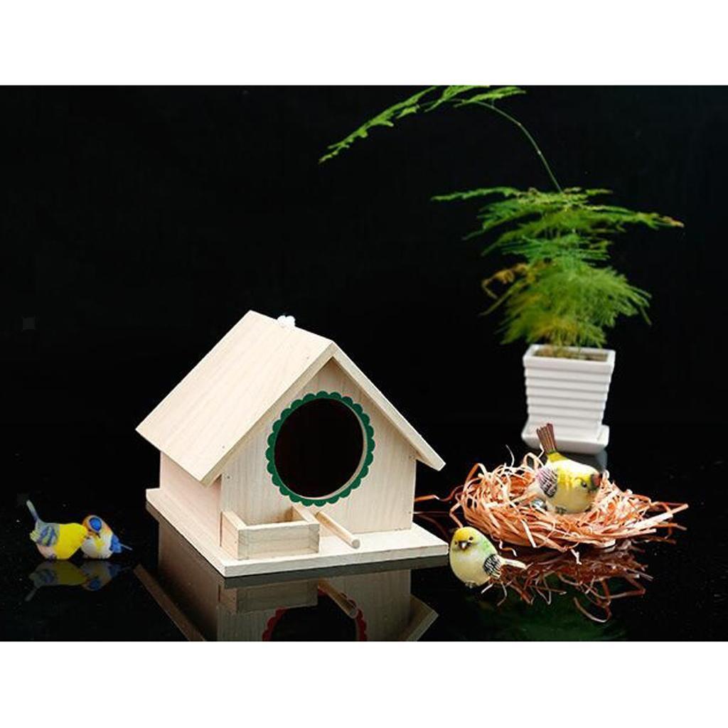 GAESHOW 4Pcs Outdoor Wooden Bird House Hanging Bird Resting Nests Box Garden Decoration Ornament Bird House Garden Decor