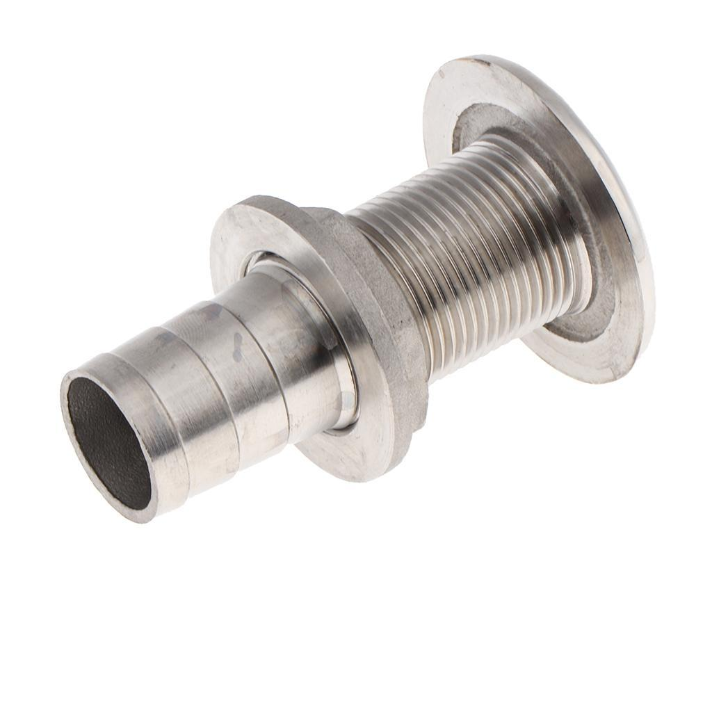 Boat Thru Hull Fitting //Drain 1-1//2 inch Hose Barb 316 Stainless Steel