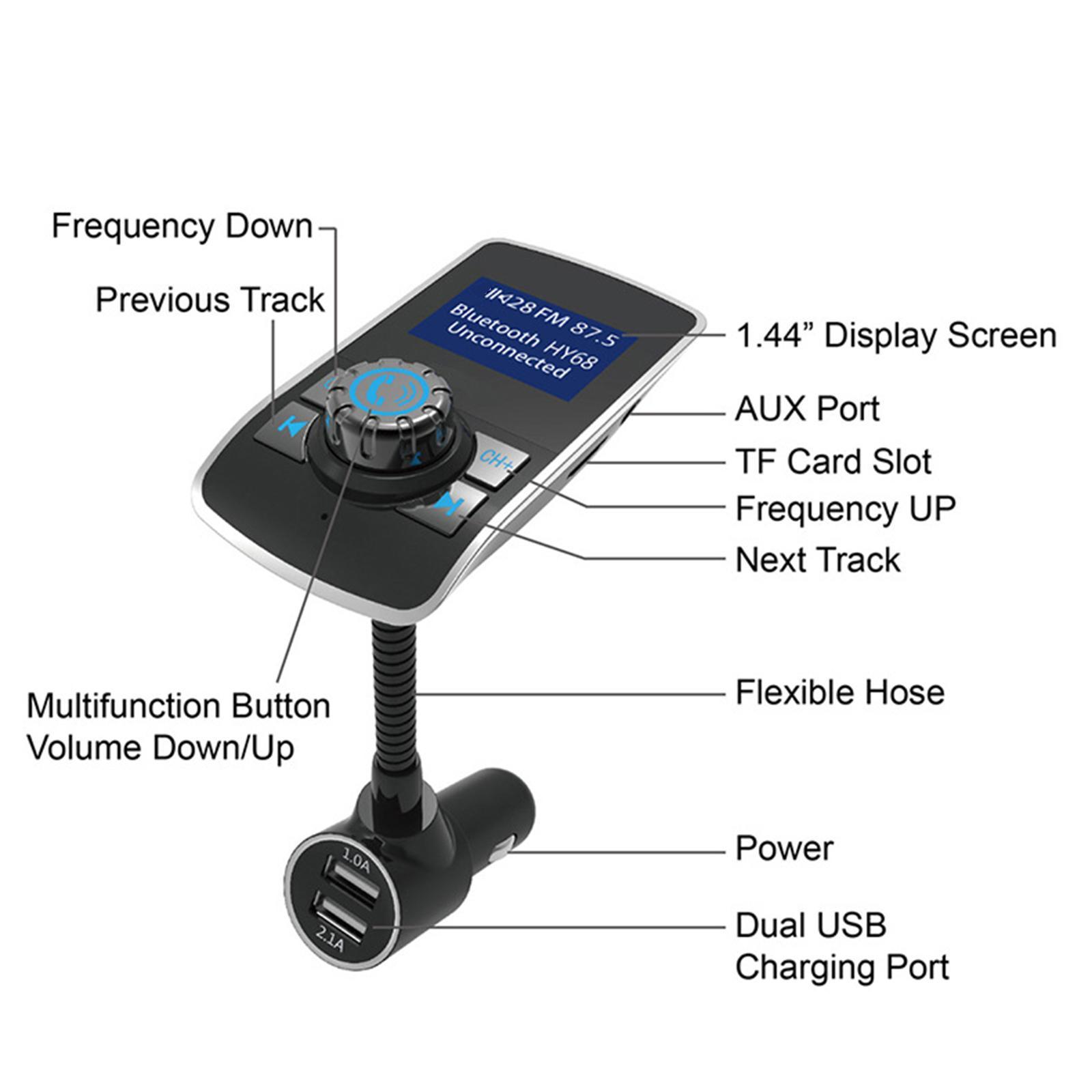 Indexbild 9 - Bluetooth V4.2 LCD FM Transmitter Auto MP3 Player 2 Port USB Lade AUX Port