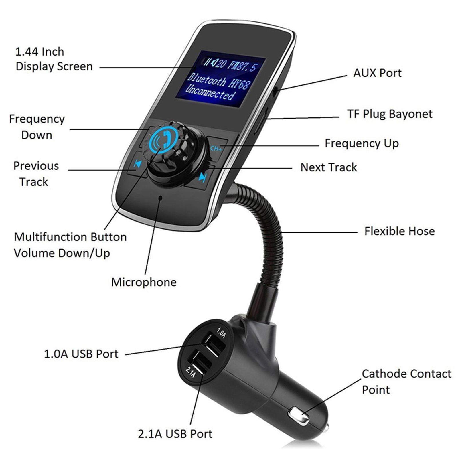 Indexbild 2 - Bluetooth V4.2 LCD FM Transmitter Auto MP3 Player 2 Port USB Lade AUX Port