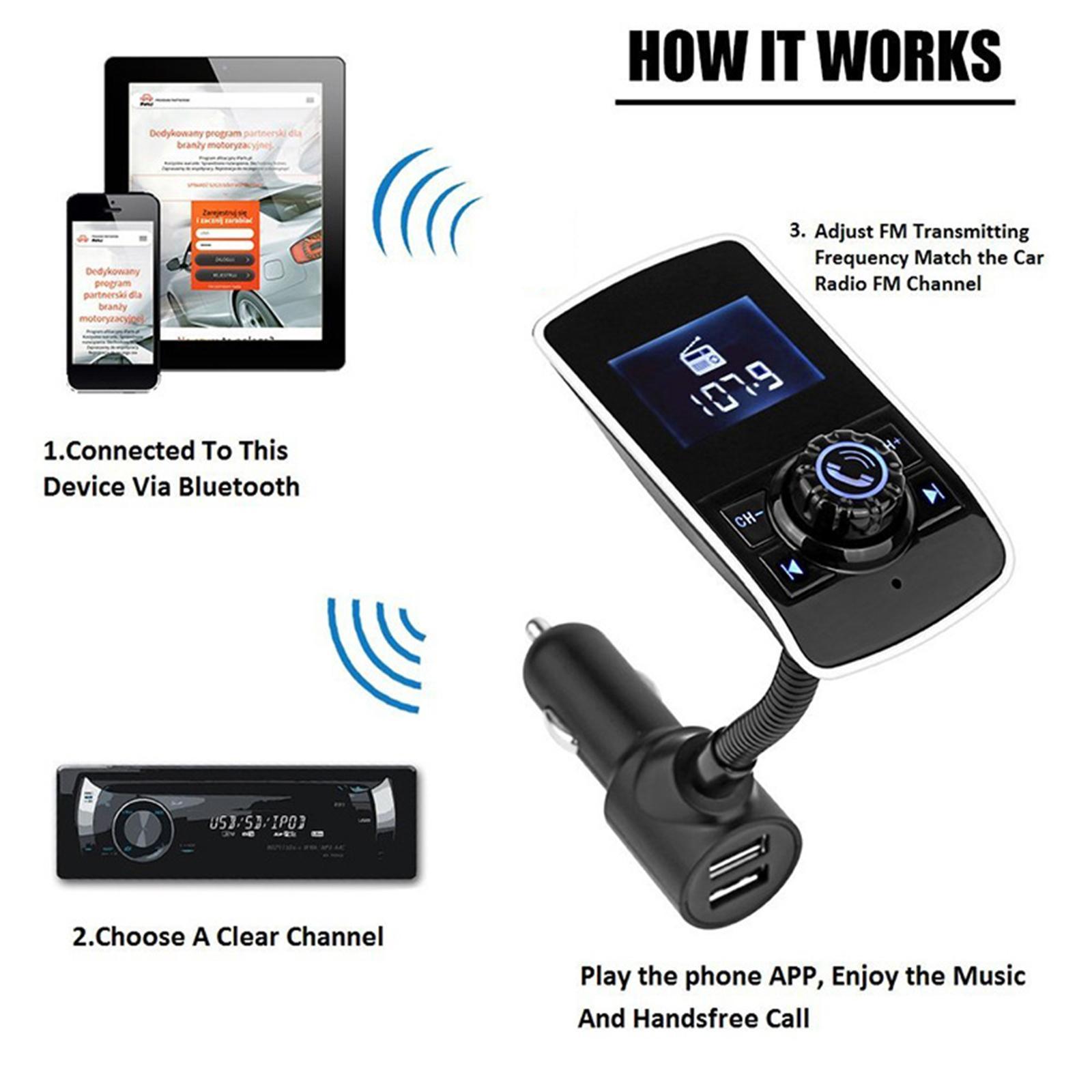 LCD Auto FM Transmitter Radio Auto MP3 Player 2 Port USB Ladegerät mit Mikrofon