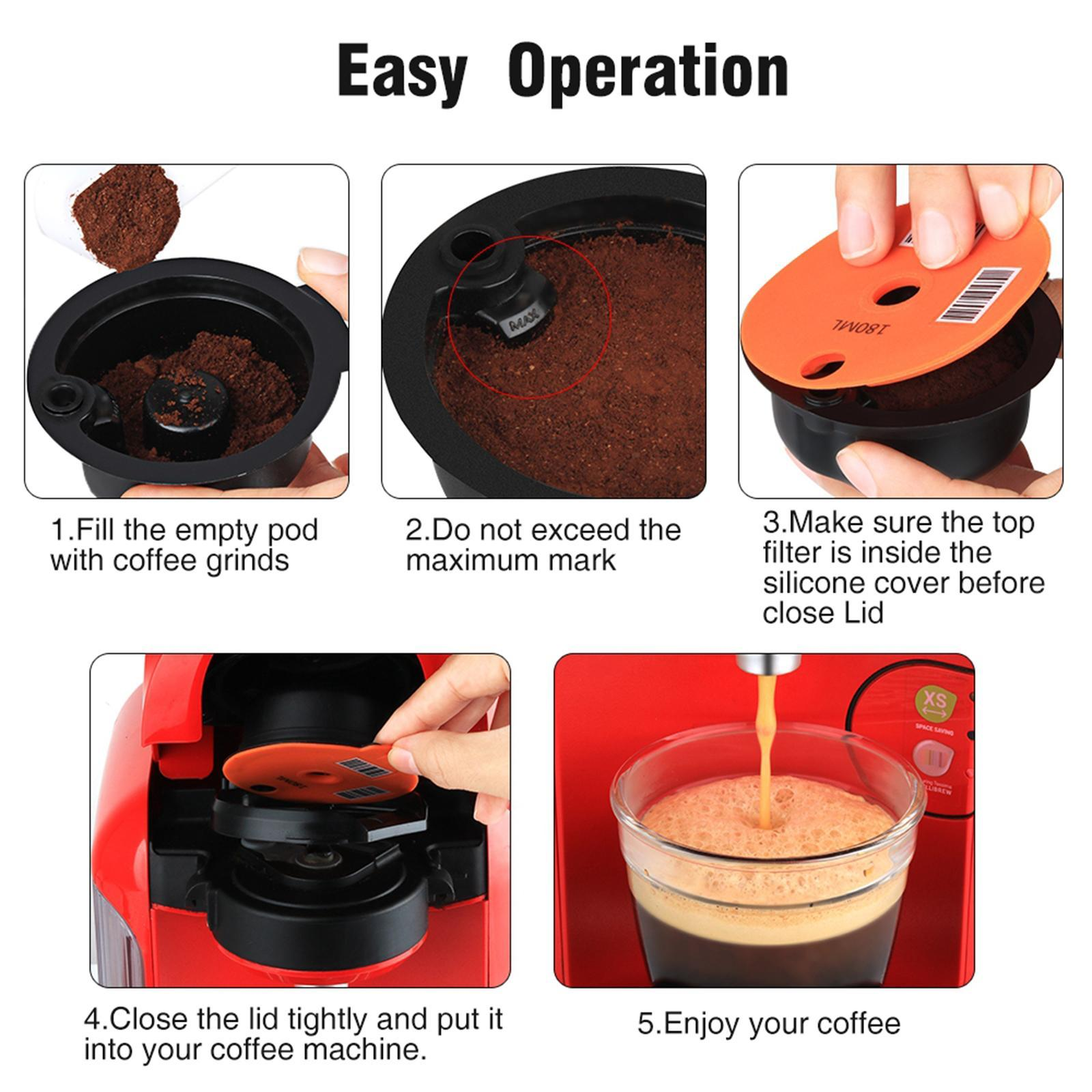 Reusable PP Coffee Capsule Pod with Slicone Lid for Bosch Tassimo Machine, 180ml