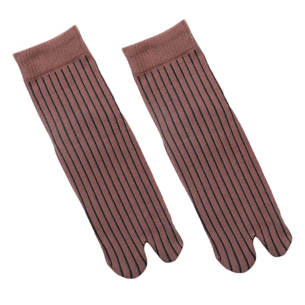 Men-100-Cotton-2-Toe-Socks-Stripes-Tabi-Socks-Hallux-Valgus-Corrector miniature 29