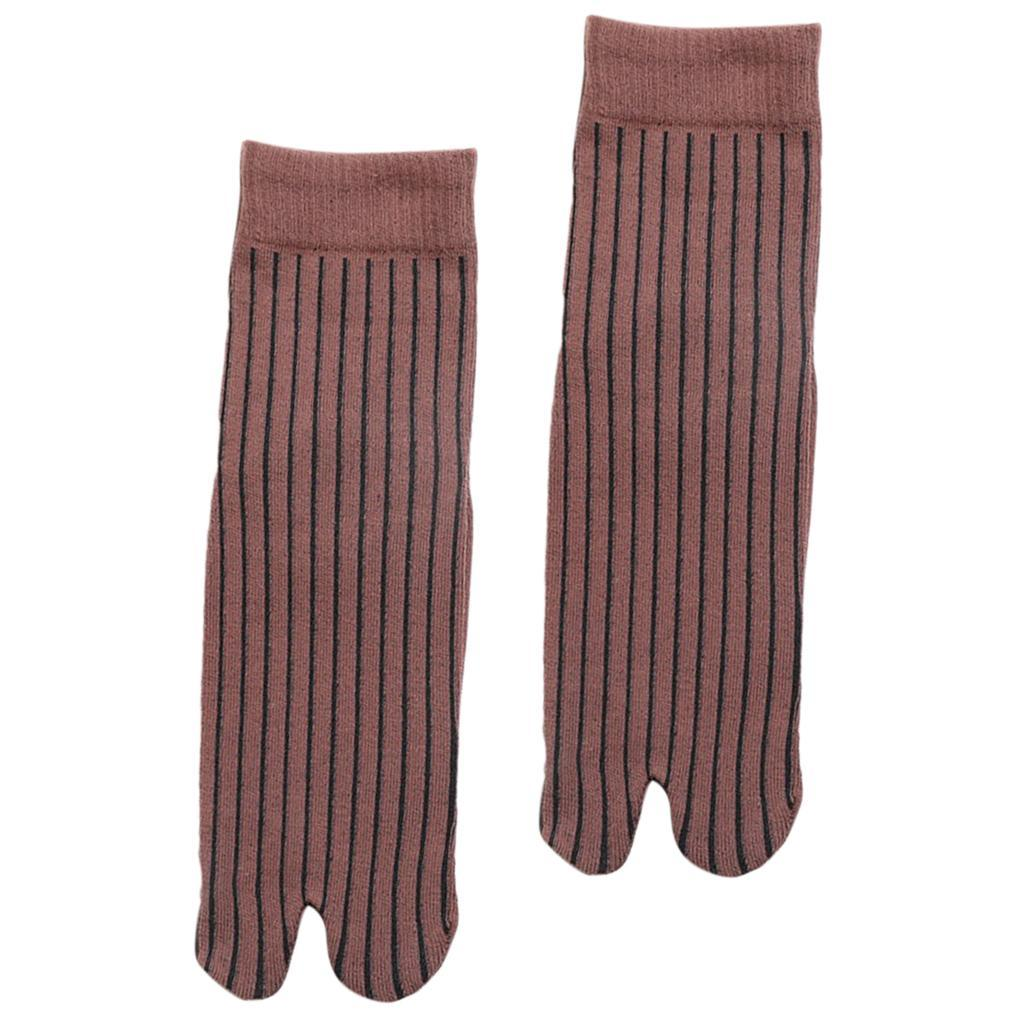 Men-100-Cotton-2-Toe-Socks-Stripes-Tabi-Socks-Hallux-Valgus-Corrector miniature 32