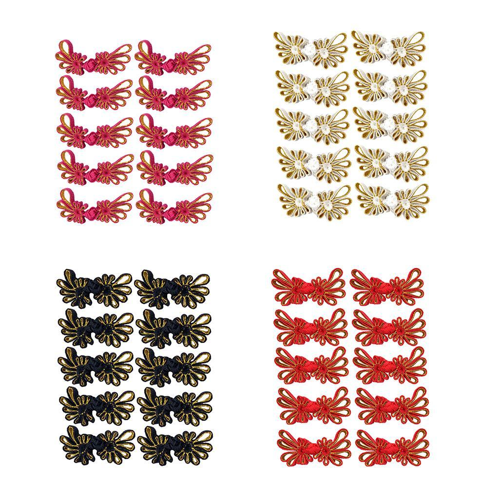 10-Pcs-Chinesischen-Knoten-Blumen-Design-Cheongsam-Schliessung-Frosch-Verschluss Indexbild 3