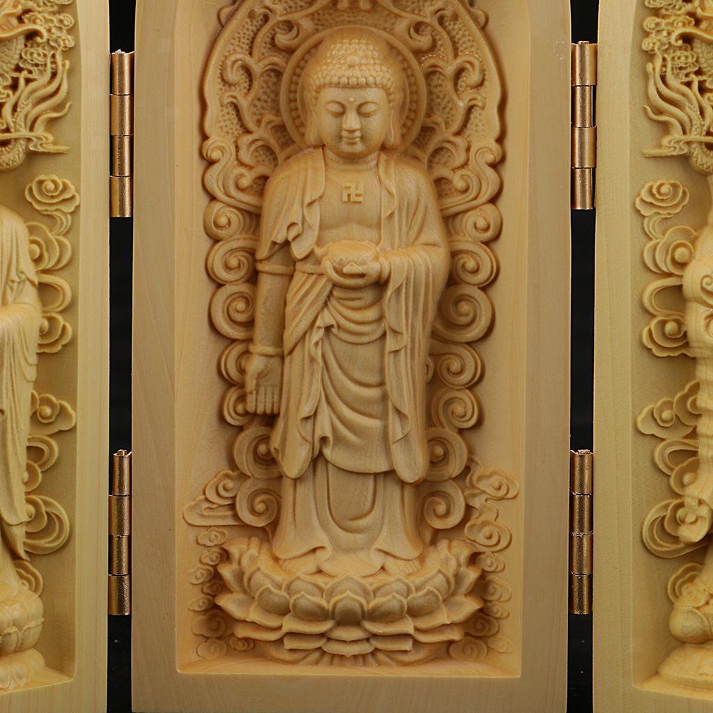 thumbnail 12 - Buddhism Temple Wooden Boxwood 3 Carved Buddha Guanyin Statue Box Set