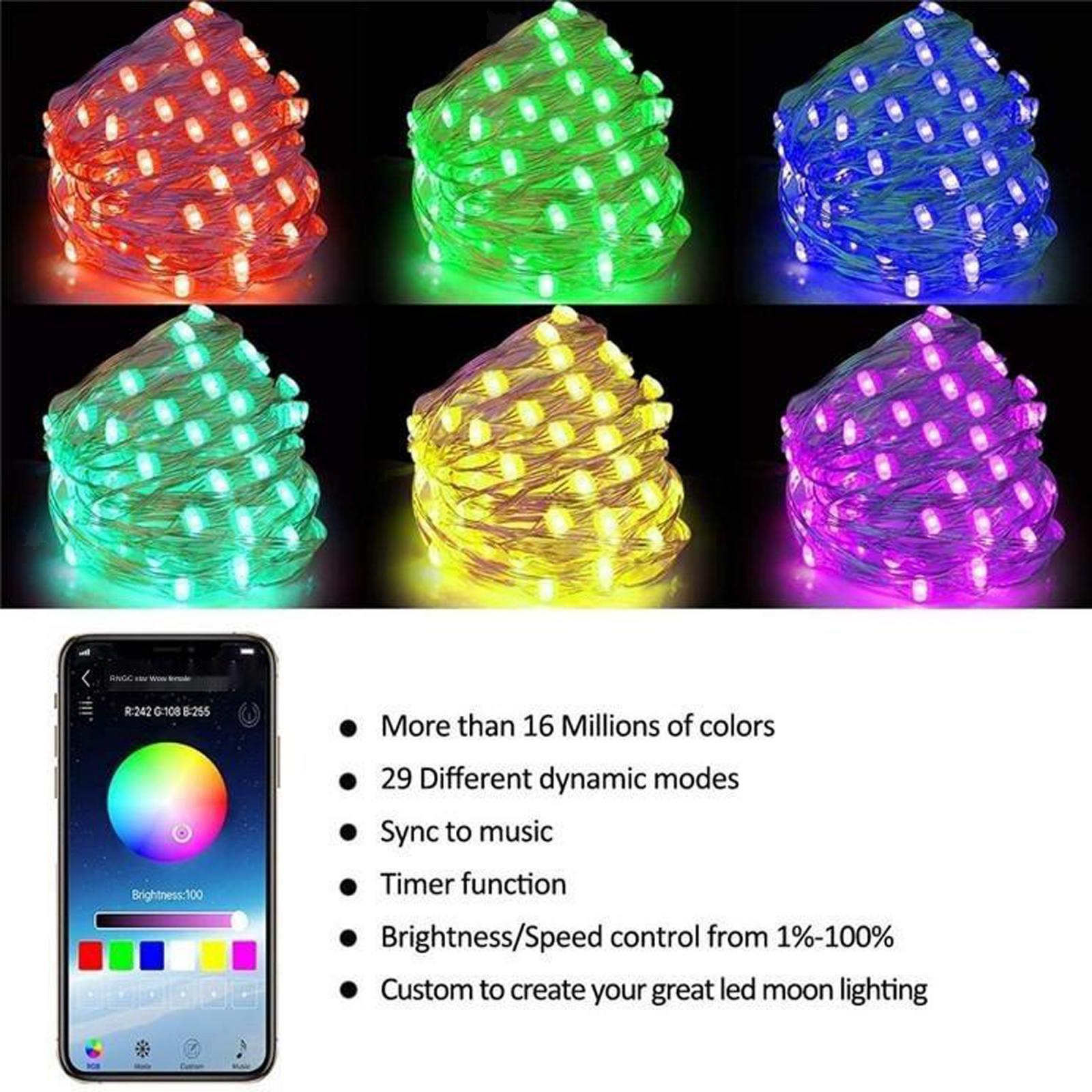 miniature 28 - LED Fée Guirlande Lumineuse Rideau Fenêtre De Mariage Party Decor App Contrôl