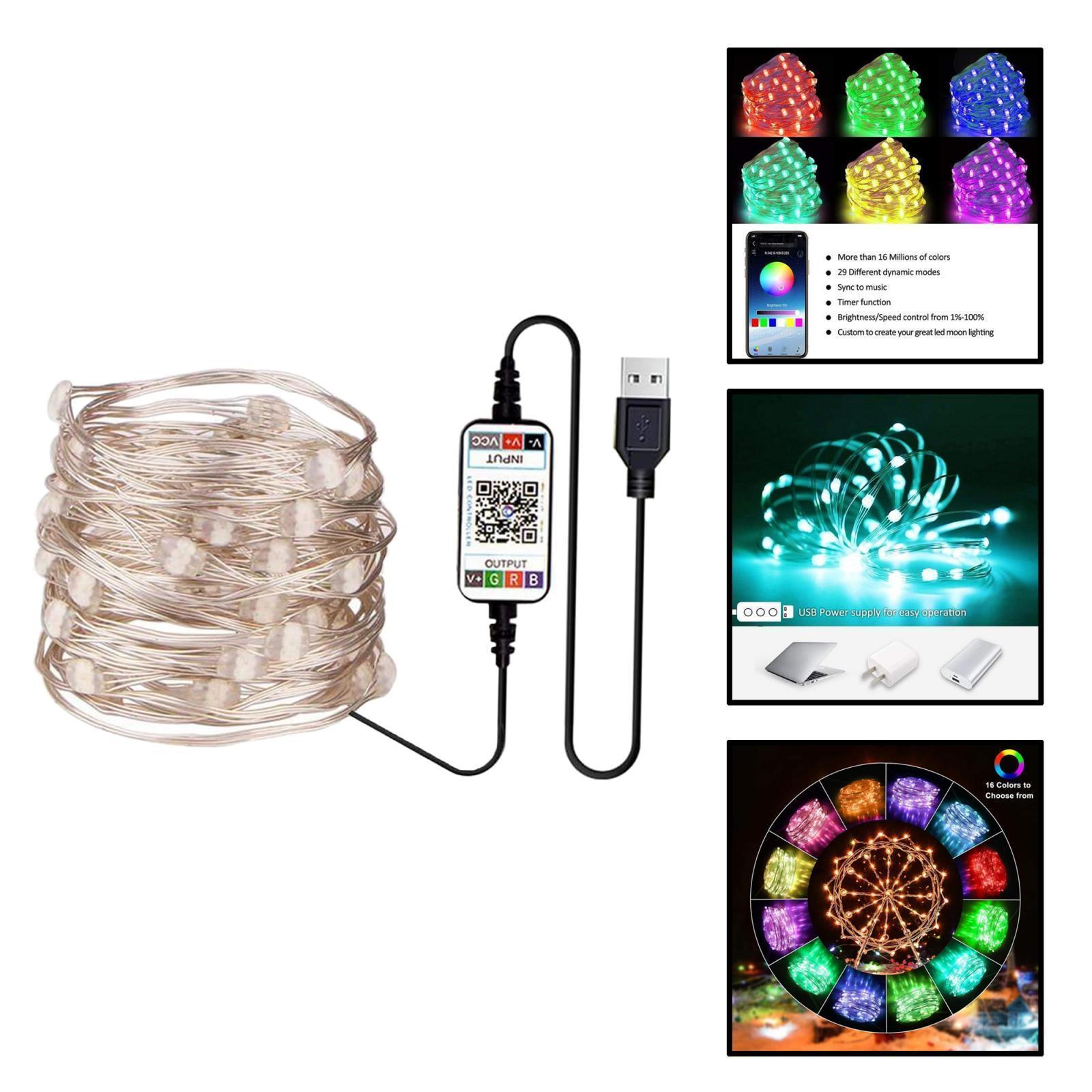 miniature 32 - LED Fée Guirlande Lumineuse Rideau Fenêtre De Mariage Party Decor App Contrôl