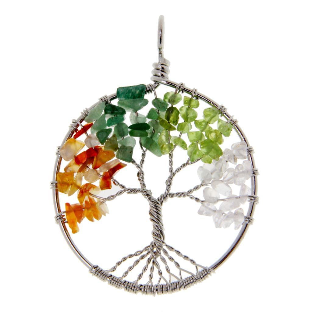 Copper Wire Wrap Pendant Labradorite Gemstone Chip Bead Tree of Life Pendant Gemstone Chip Pendant Tree of Life Necklace