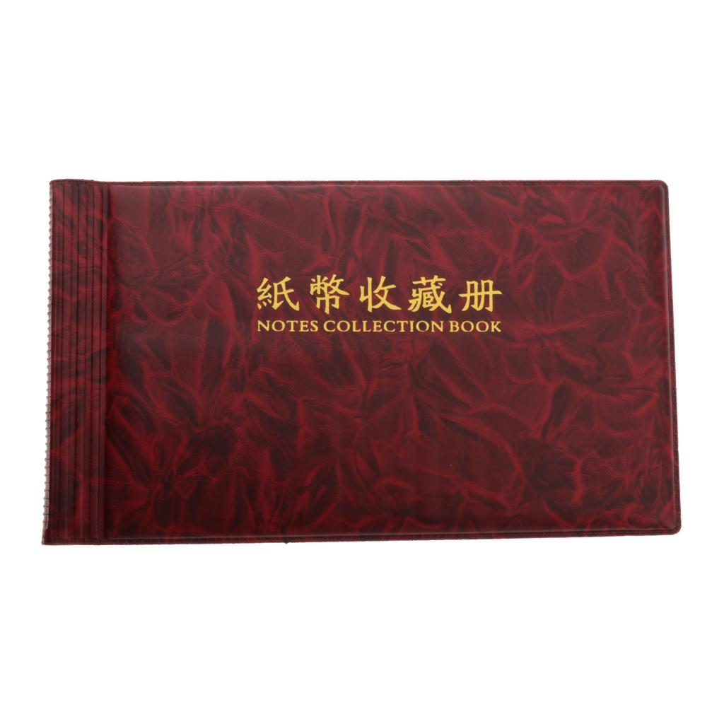 3Pieces Banknote Collection Album Stamps Holder Note Book 20 Pages Red