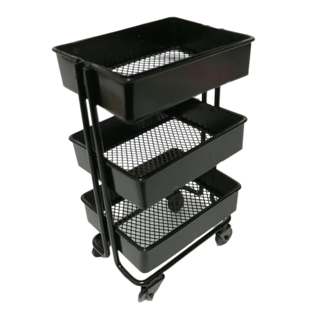 thumbnail 6 - 1:12 Scale 3 Tier Storage Shelf w/ 4 Wheels Dollhouse Furniture Kitchen Room