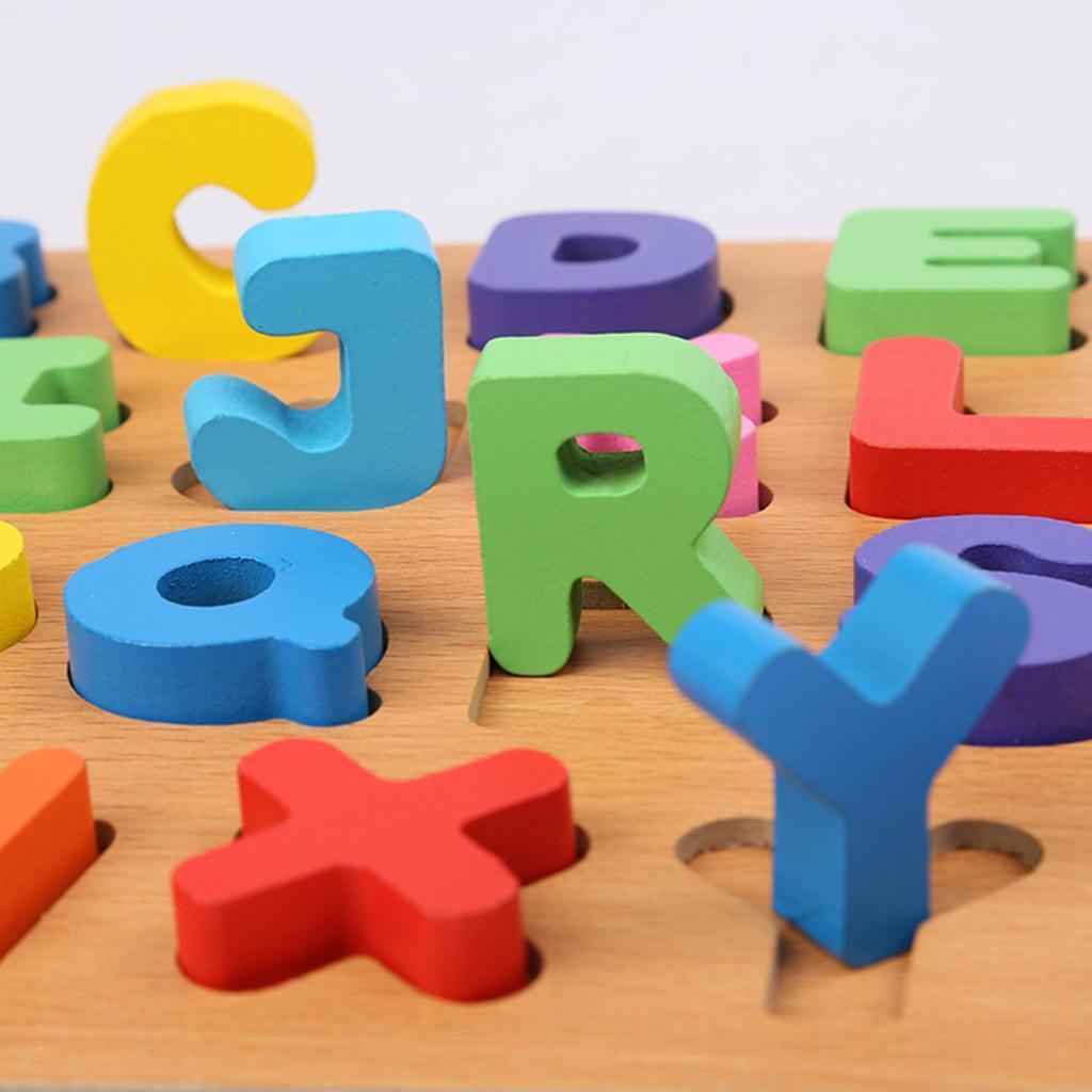 Baby Kids Montessori Wooden 3D Letter Toys DIY Digital ...