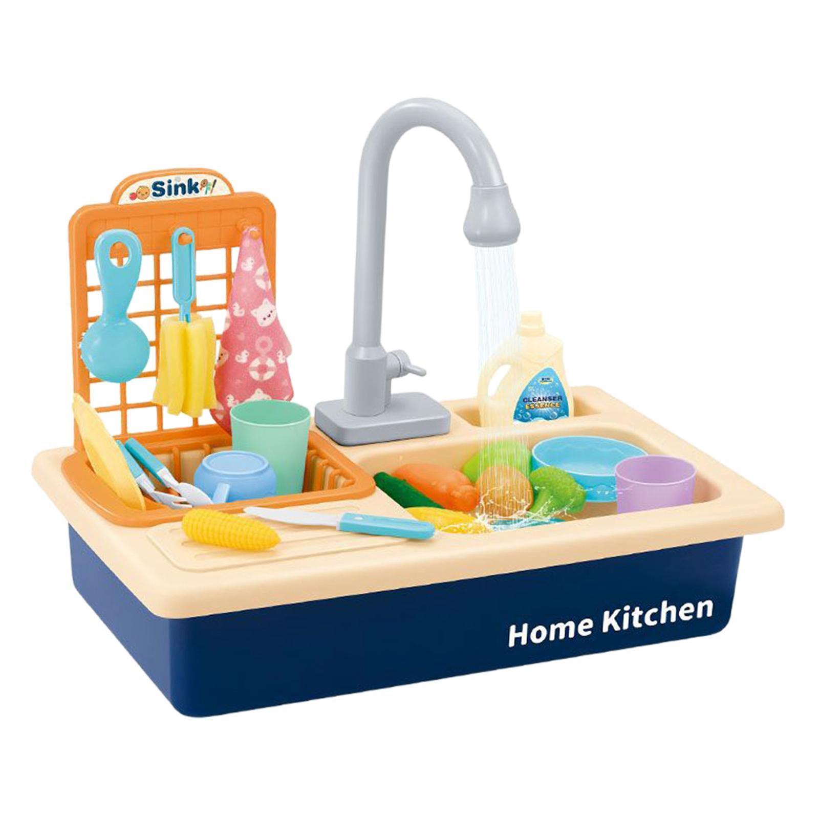Indexbild 5 - Kinder-Kueche-Spielen-Waschbecken-Spielzeug-Automatische-Wasser-Zyklus-System