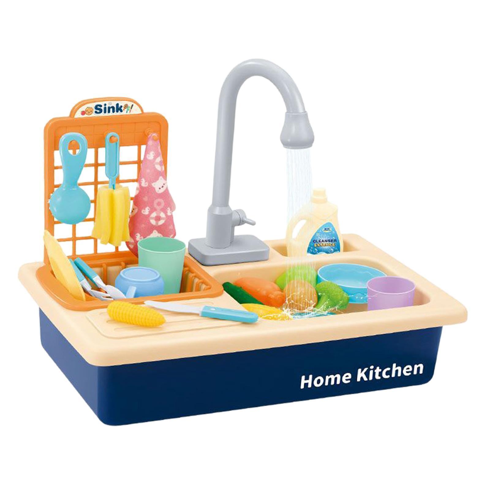 Indexbild 9 - Kinder-Kueche-Spielen-Waschbecken-Spielzeug-Automatische-Wasser-Zyklus-System
