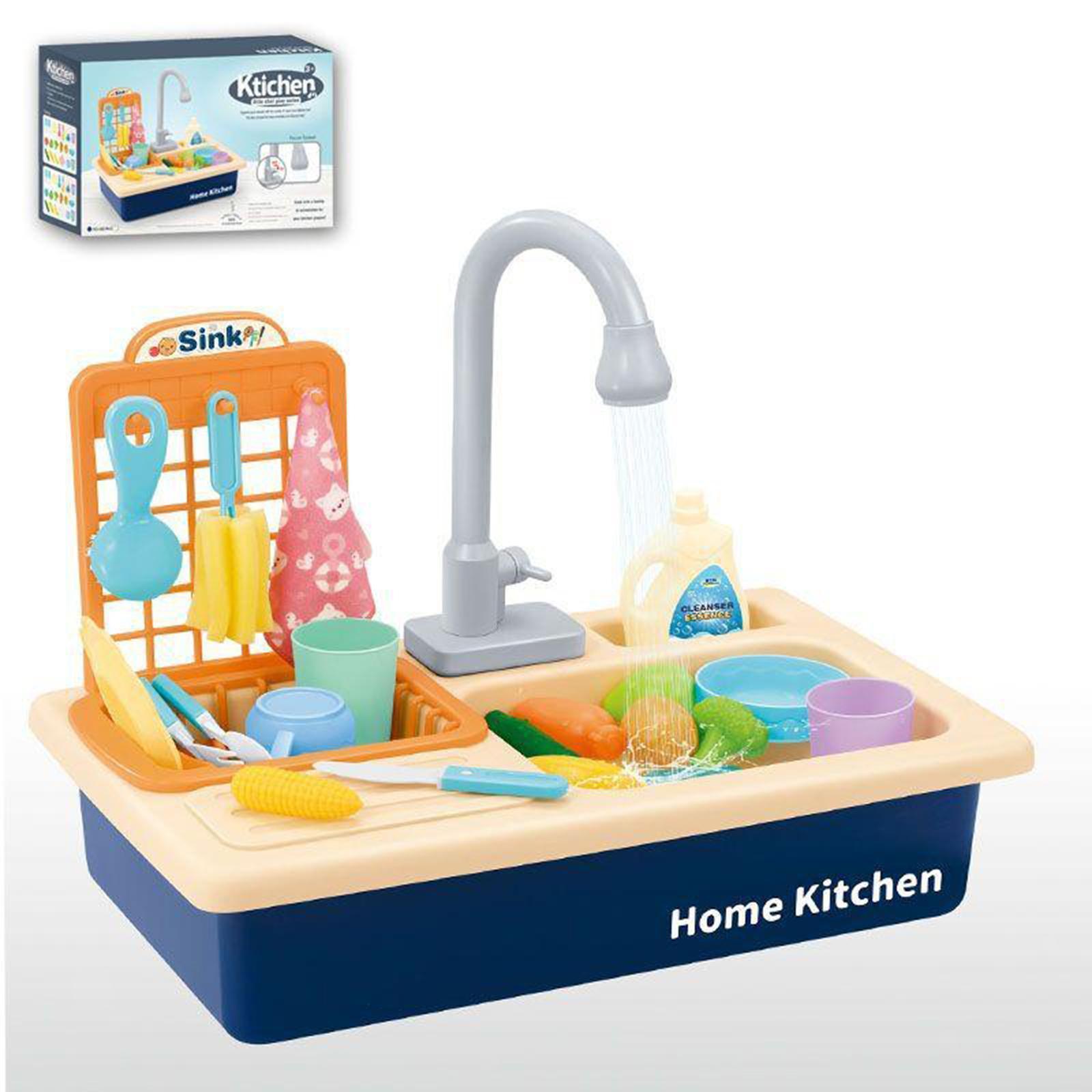 Indexbild 10 - Kinder-Kueche-Spielen-Waschbecken-Spielzeug-Automatische-Wasser-Zyklus-System