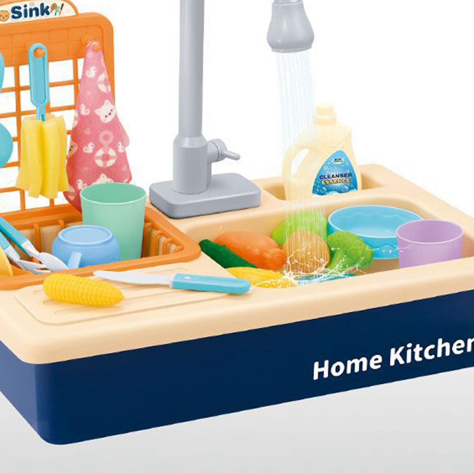 Indexbild 6 - Kinder-Kueche-Spielen-Waschbecken-Spielzeug-Automatische-Wasser-Zyklus-System