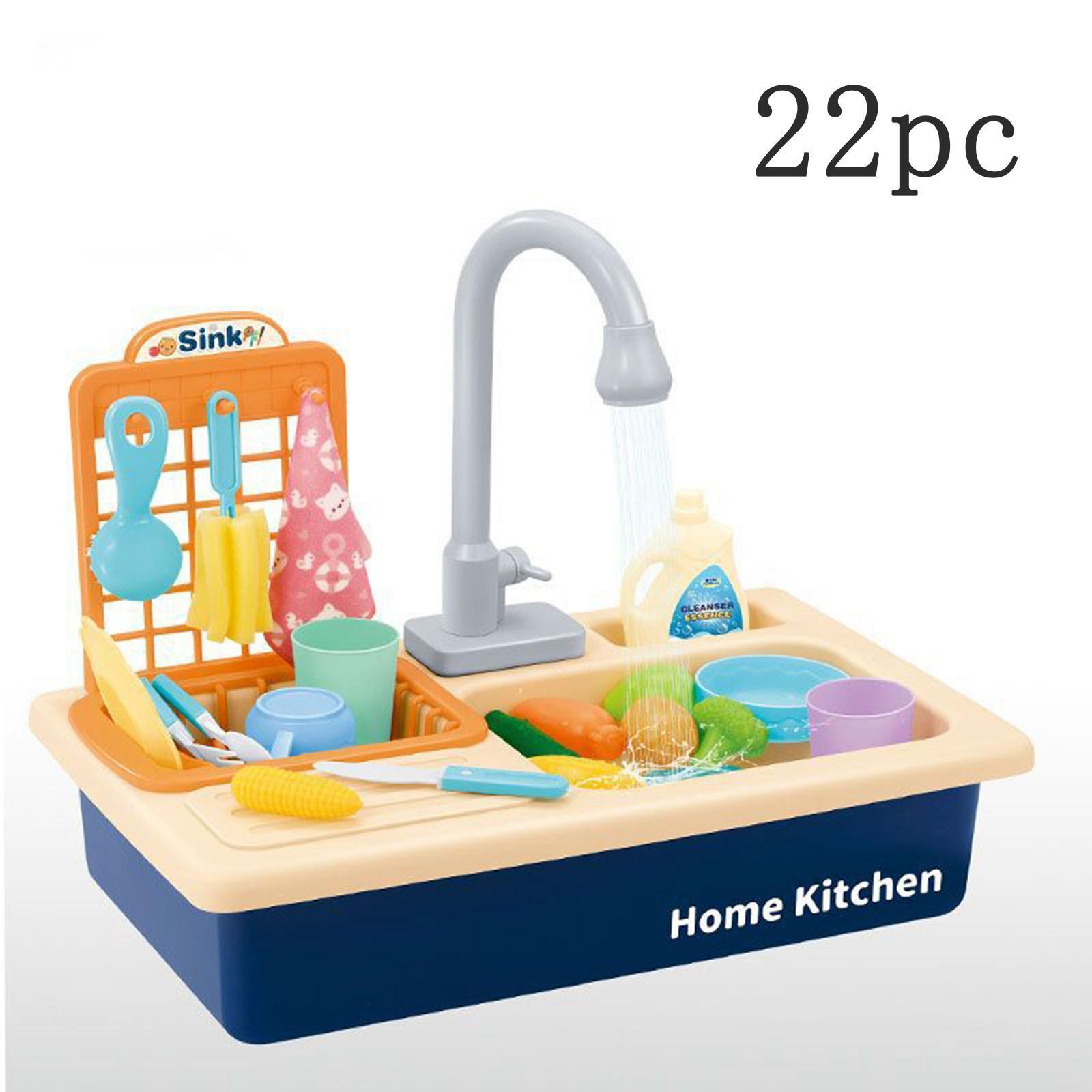 Indexbild 7 - Kinder-Kueche-Spielen-Waschbecken-Spielzeug-Automatische-Wasser-Zyklus-System