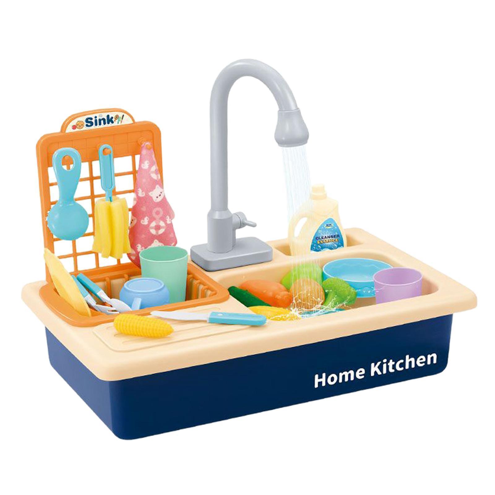 Indexbild 8 - Kinder-Kueche-Spielen-Waschbecken-Spielzeug-Automatische-Wasser-Zyklus-System