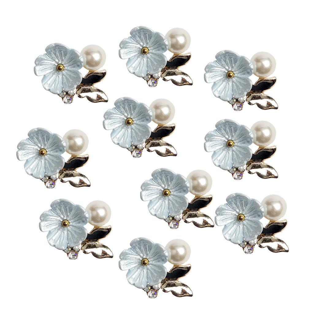 10-Stuecke-Flatback-Perle-Blume-Kristall-Strass-Knoepfe-Verzierung-Faltback Indexbild 10