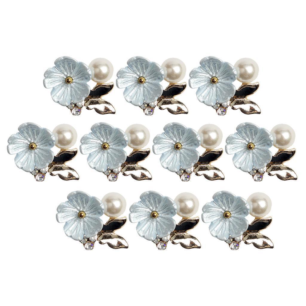 10-Stuecke-Flatback-Perle-Blume-Kristall-Strass-Knoepfe-Verzierung-Faltback Indexbild 9