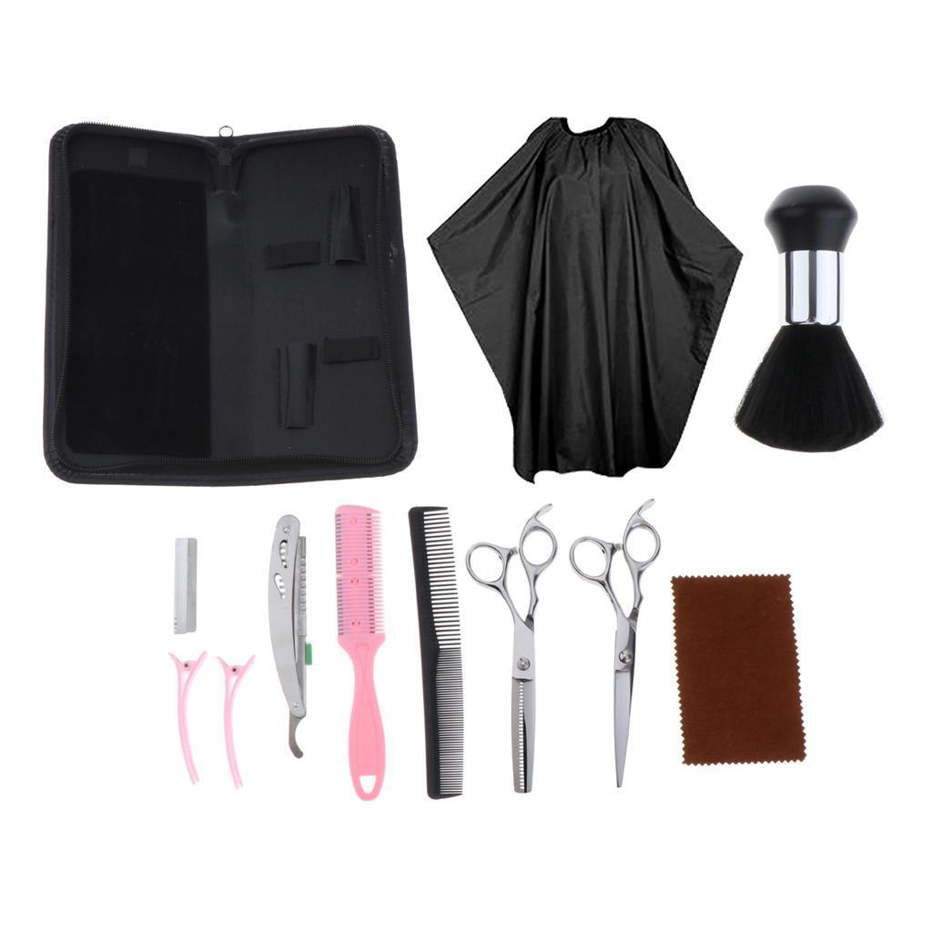 12pcs-Kit-de-Ciseaux-Coiffeur-Cape-Pinces-a-Cheveux-Peignes-Rasoir-Balais-a miniature 5