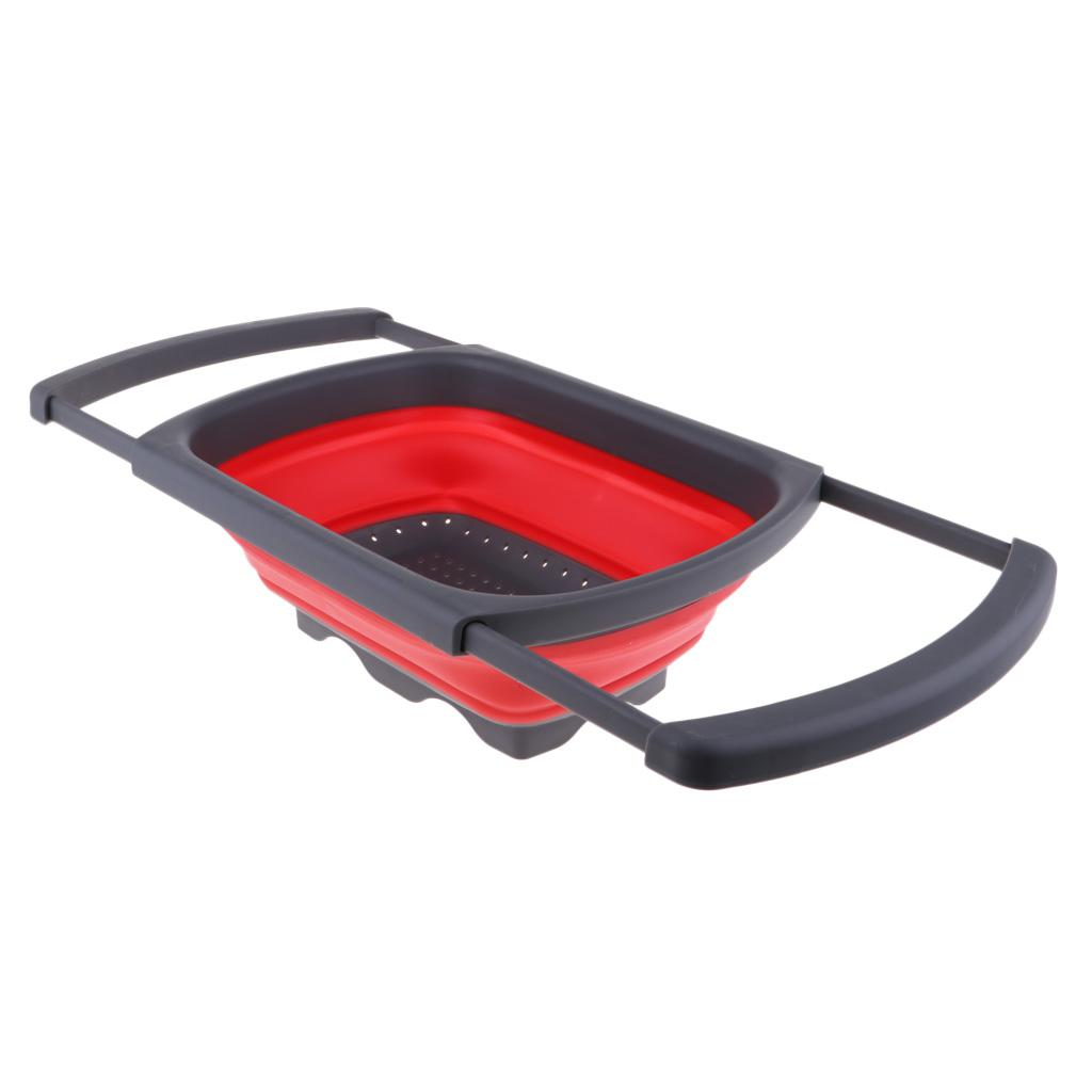 Outdoor Camping Collapsible Sink Dish Drainer Wash Tub Fruit Basin Blue