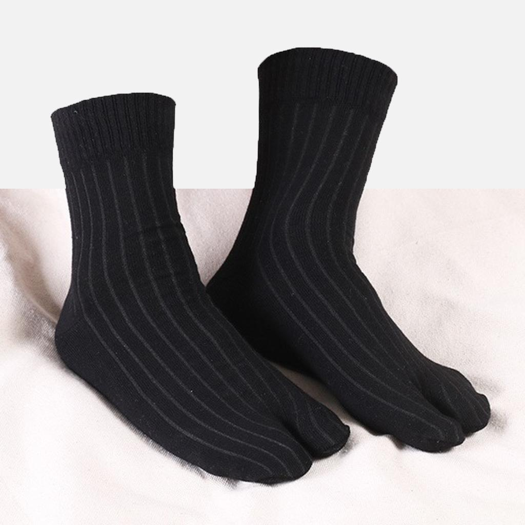 Men-100-Cotton-2-Toe-Socks-Stripes-Tabi-Socks-Hallux-Valgus-Corrector miniature 39