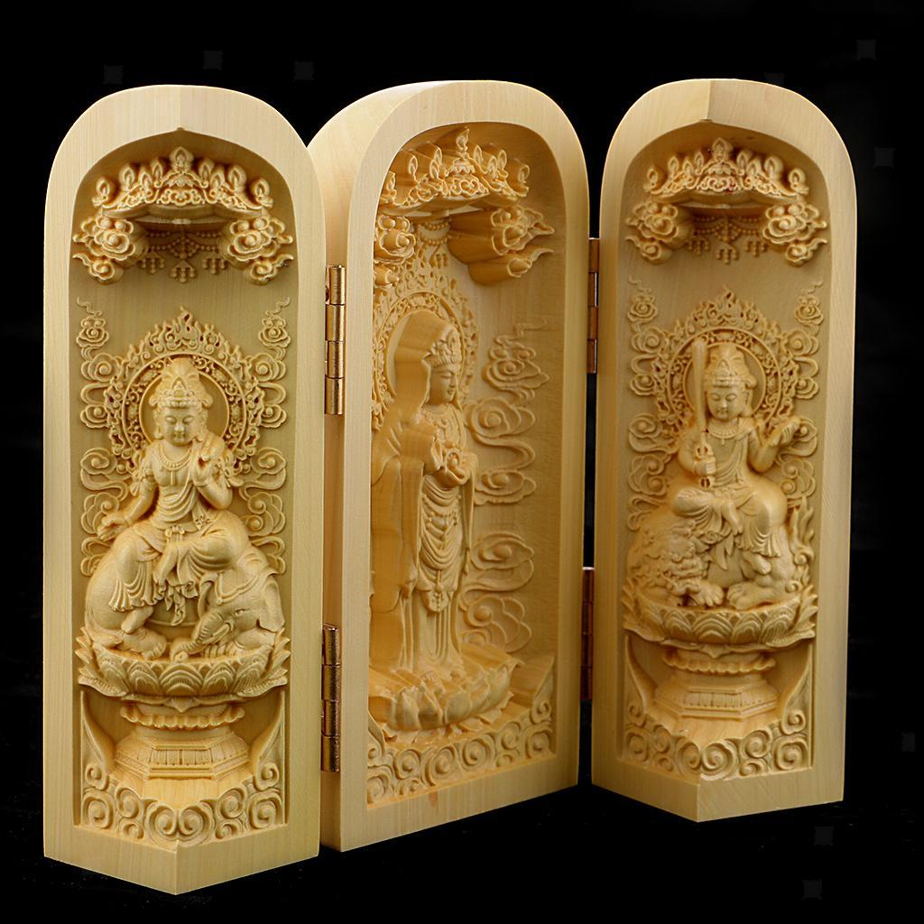 thumbnail 16 - Buddhism Temple Wooden Boxwood 3 Carved Buddha Guanyin Statue Box Set