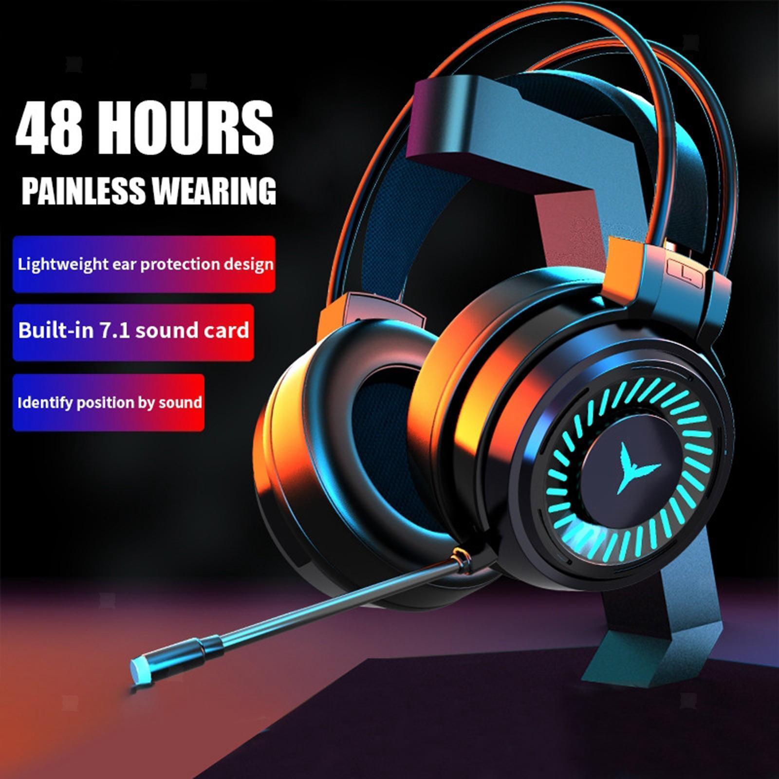 miniature 11 - Confortable Coloré LED   Gaming Headset 7.1 Surround Sound pour PC