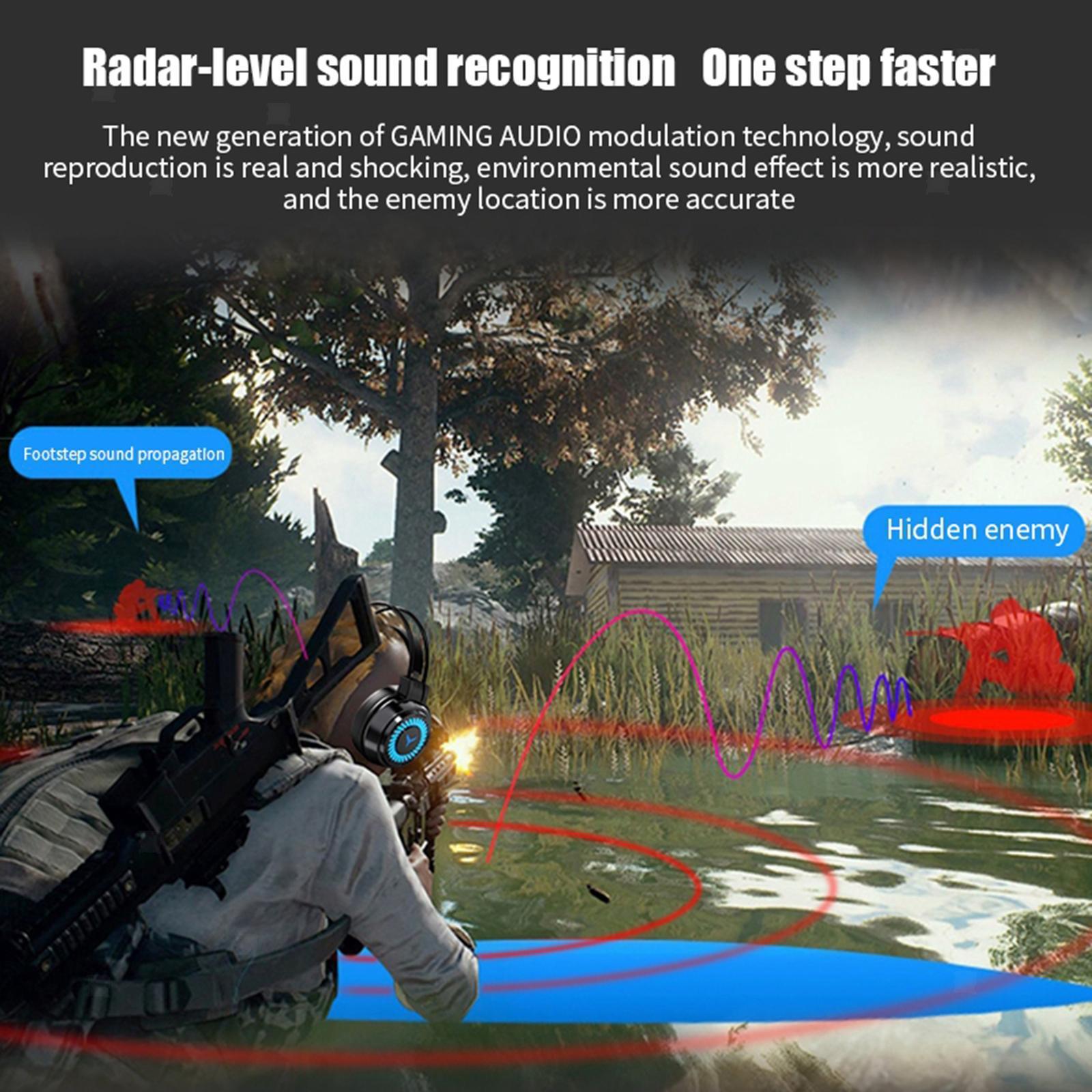 miniature 5 - Confortable Coloré LED   Gaming Headset 7.1 Surround Sound pour PC