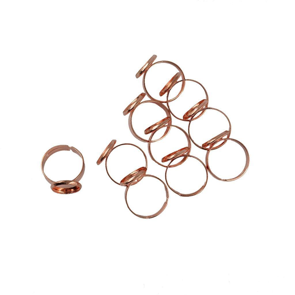 14 mm Blanks Brass Sheet Findings 8 Pcs Silver Tone Color  21 mm Adjustable Ring