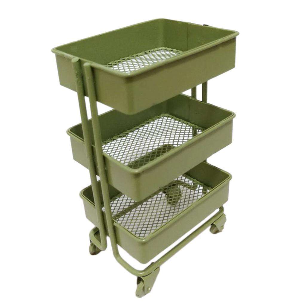 thumbnail 9 - 1:12 Scale 3 Tier Storage Shelf w/ 4 Wheels Dollhouse Furniture Kitchen Room