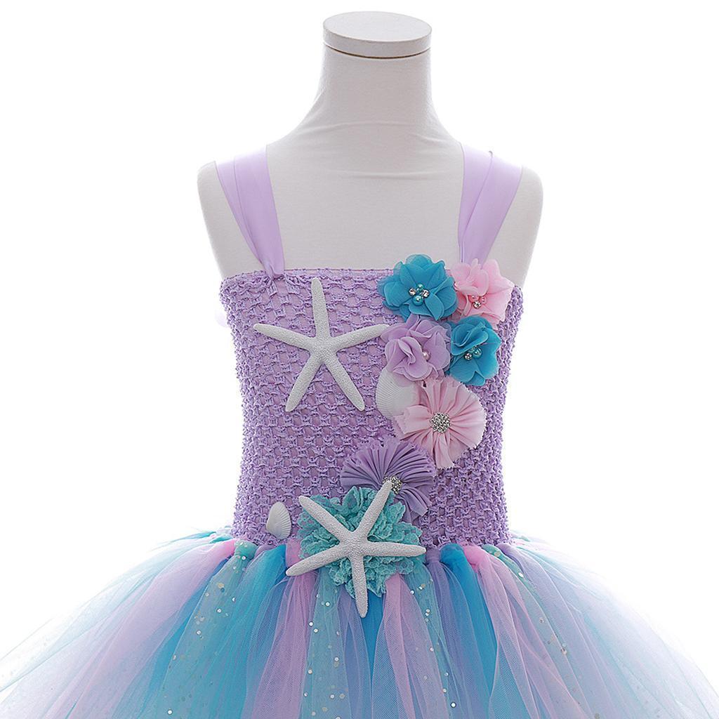 thumbnail 8 - Mermaid Tutu Dress Cosplay Kids Mermaid Costume 3 4 5 6 Years Old