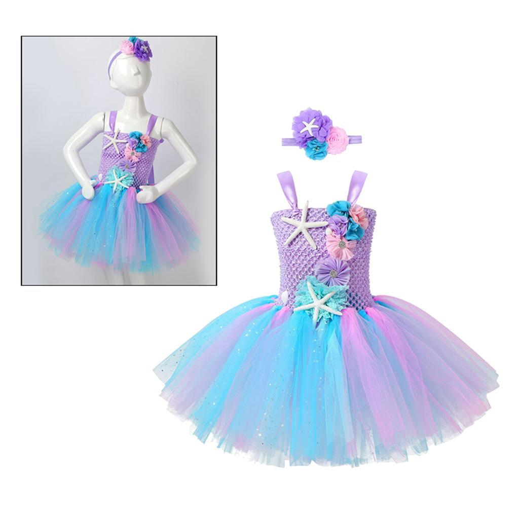 thumbnail 7 - Mermaid Tutu Dress Cosplay Kids Mermaid Costume 3 4 5 6 Years Old