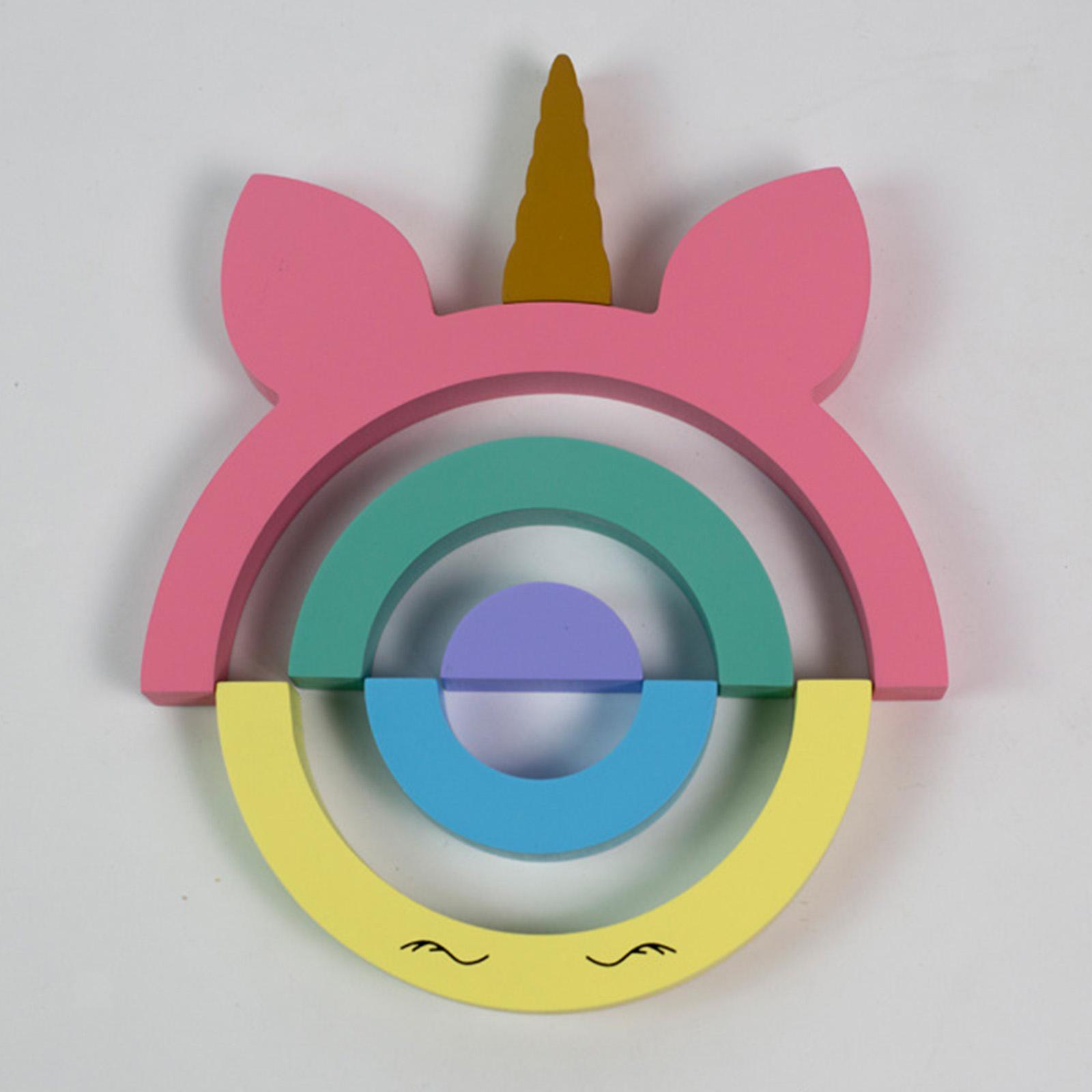 miniature 5 - Blocs de construction d'empilage coloré en bois créatif jouet de bébé Montes