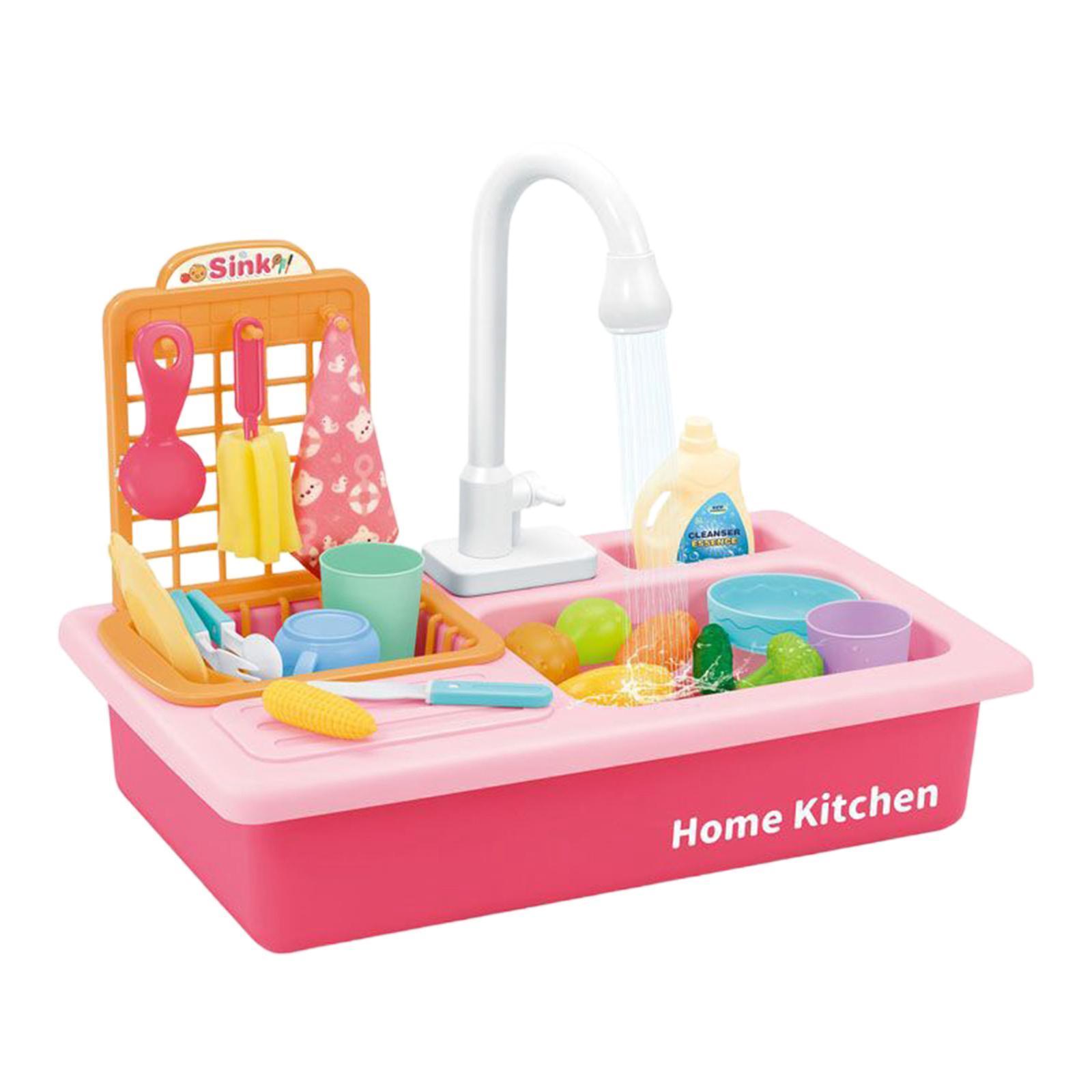 Indexbild 17 - Kinder-Kueche-Spielen-Waschbecken-Spielzeug-Automatische-Wasser-Zyklus-System
