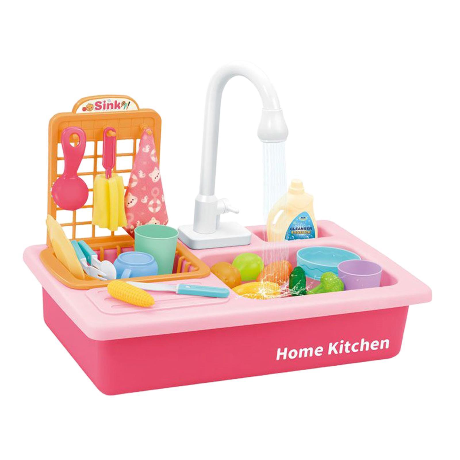 Indexbild 18 - Kinder-Kueche-Spielen-Waschbecken-Spielzeug-Automatische-Wasser-Zyklus-System