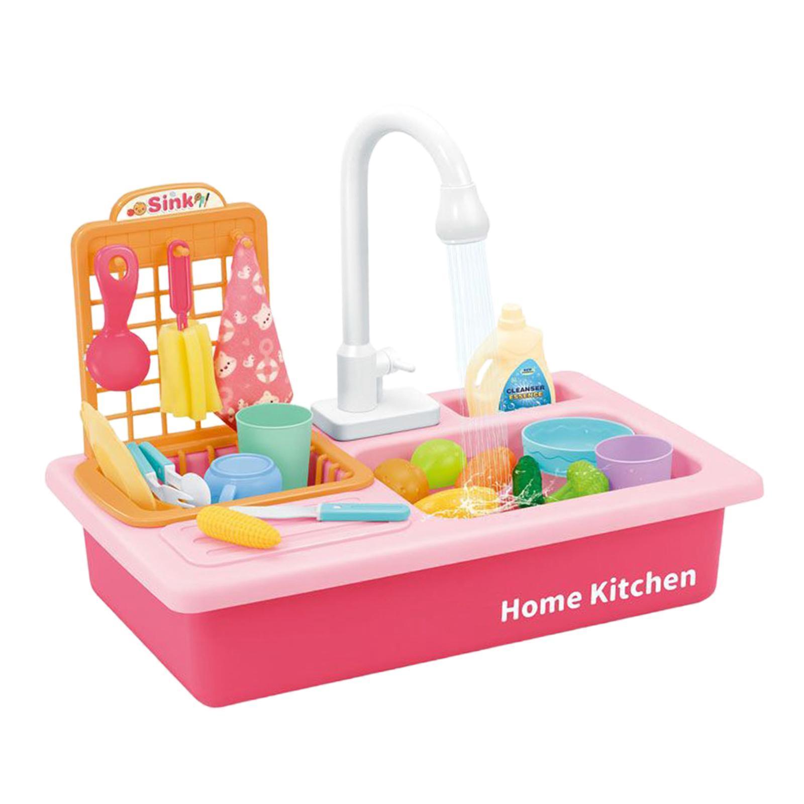 Indexbild 13 - Kinder-Kueche-Spielen-Waschbecken-Spielzeug-Automatische-Wasser-Zyklus-System