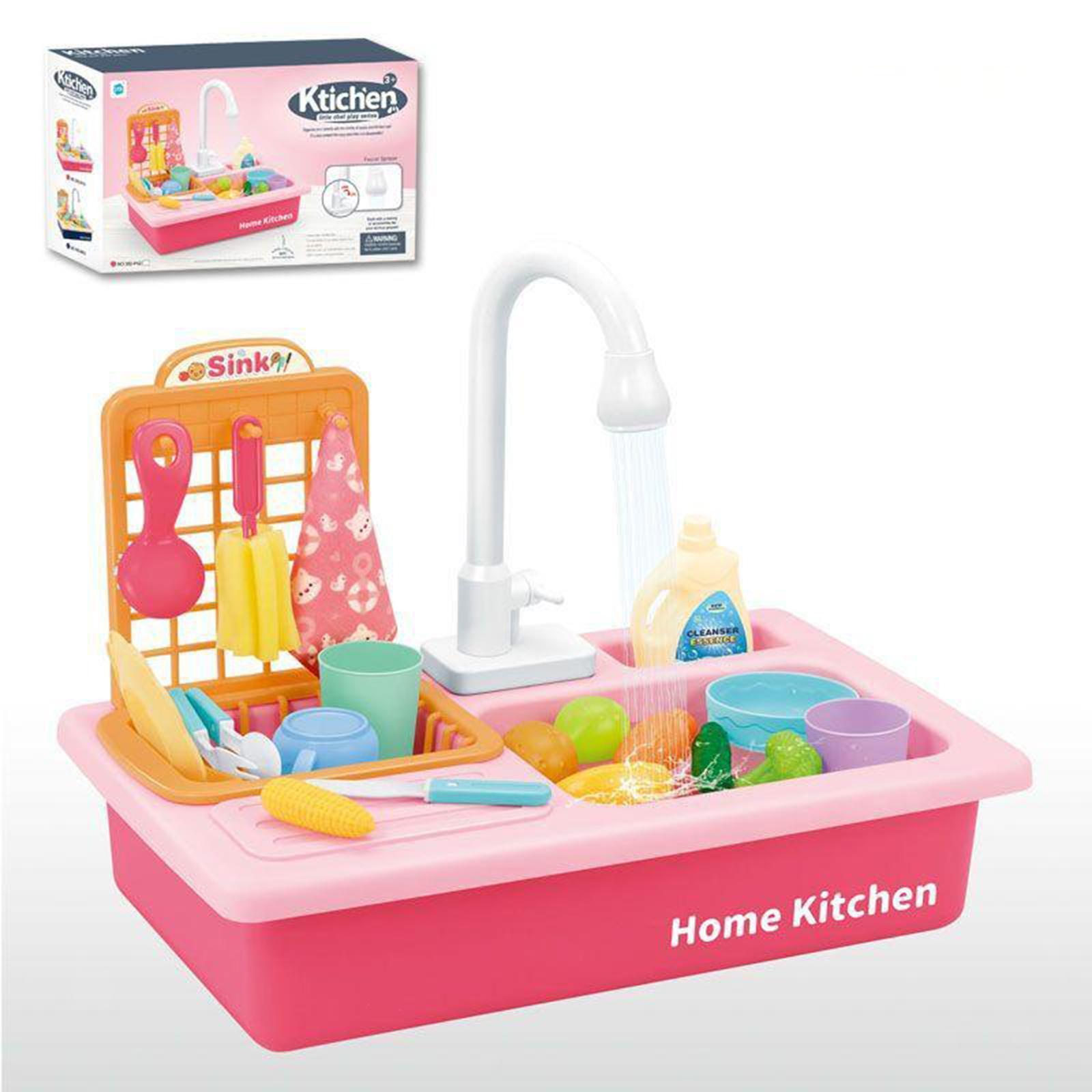 Indexbild 12 - Kinder-Kueche-Spielen-Waschbecken-Spielzeug-Automatische-Wasser-Zyklus-System