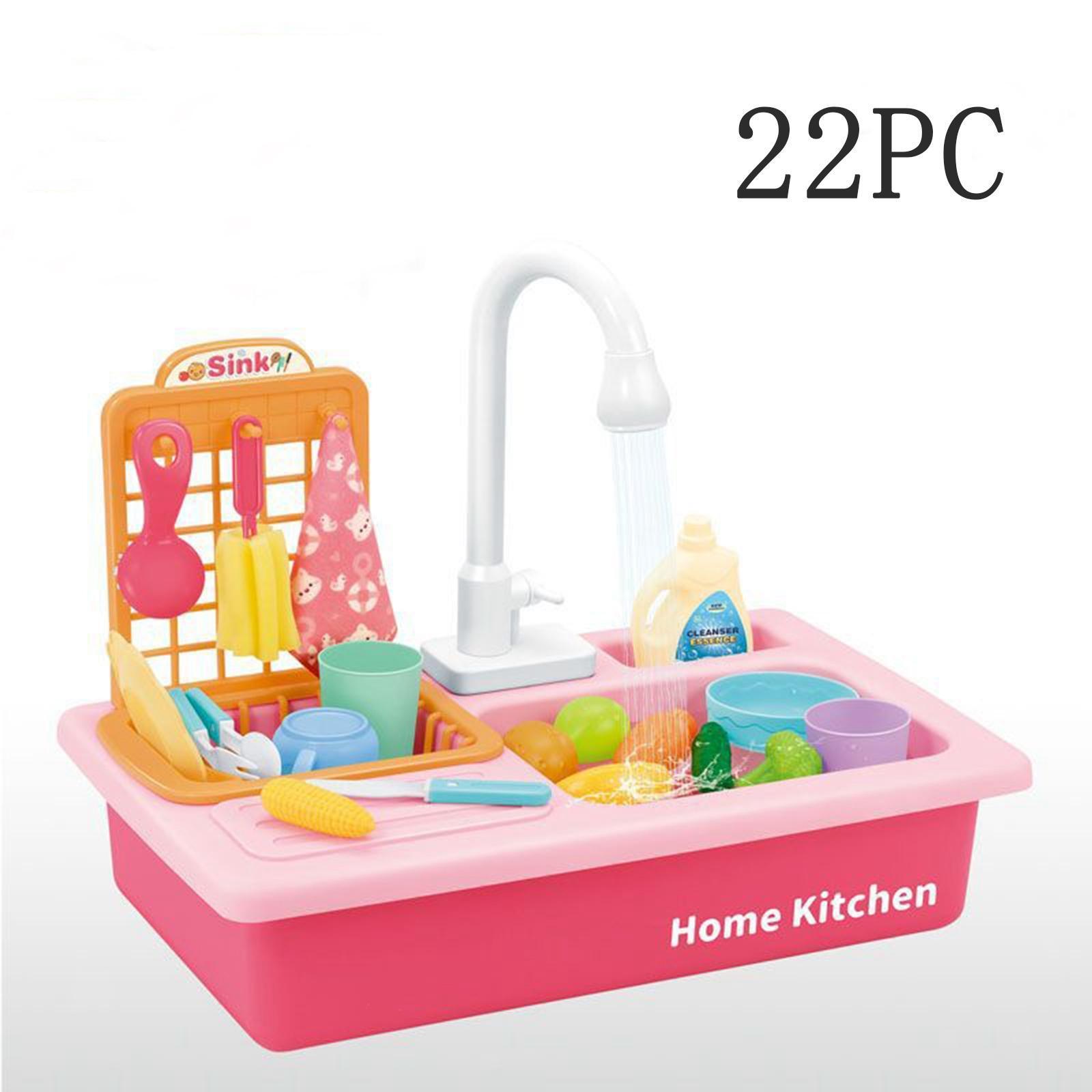 Indexbild 16 - Kinder-Kueche-Spielen-Waschbecken-Spielzeug-Automatische-Wasser-Zyklus-System