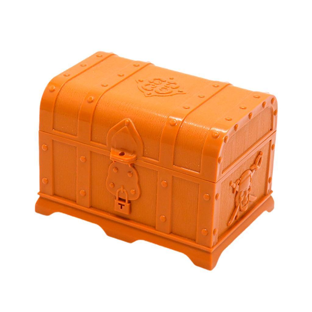 Large Nautical Plasic Colorful Pirate Treasure Chest Box Halloween Decor Toy
