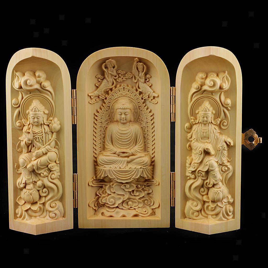 thumbnail 18 - Buddhism Temple Wooden Boxwood 3 Carved Buddha Guanyin Statue Box Set